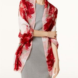 Calvin Klein Floral Scarf & Wrap in One Red Pink